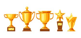 Set of old cups. Illustration of award for sports or corporate competitions Royalty Free Stock Image