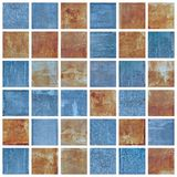 Set of Old Damaged Metal Blocks as Mosaic Stock Image
