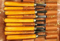 Set of old dirty chisels Stock Photos