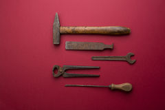 Set of old dirty tools Royalty Free Stock Images