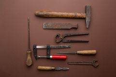 Set of old dirty tools Stock Photos