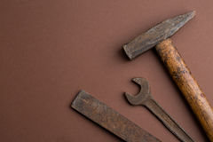 Set of old dirty tools Royalty Free Stock Photo