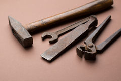 Set of old dirty tools Stock Image