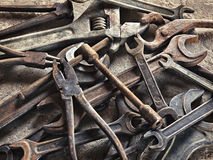Set of old dirty tools in vintage style Stock Images