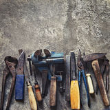 Set of old dirty tools in vintage style Stock Image