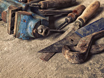 Set of old dirty tools in vintage style Stock Photos