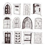 Set of old Door icon, illustration vector Stock Photo