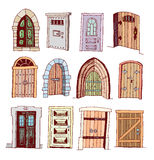 Set of old Door icon, illustration vector Royalty Free Stock Photo