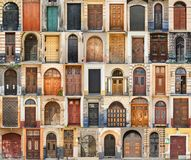 Set of 45 old doors and gates from Lvov, Ukraine. Examples of world architectural heritage Stock Photo