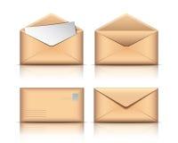 Set of Old envelopes. With blank paper on white background. Vector illustration royalty free illustration