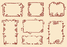 Set of old ethnic handmade frames. Crayon chalk hand drawn patterned background. Group of old-time ornament vector copy space Royalty Free Stock Images