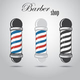 Set of old fashioned vintage glass barber shop poles Royalty Free Stock Photo