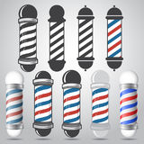 Set of old fashioned vintage glass barber shop poles with stripes Stock Photo
