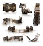 Old film strip. 3d vector icon set. Set of old film strips. 3d vector icons Royalty Free Stock Images
