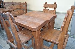 Set of old furniture - table and chairs royalty free stock photos