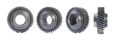 Set of old gear in four different foreshortenings isolated Stock Photos