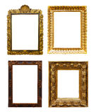 Set of old  gold frames. Isolated over white Stock Images