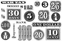 A Set of Old Graphic Elements. Distressed, vintage black and white graphic elements from 1870 through 1920.  Numbers and words, isolated on white Royalty Free Stock Photos
