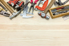 Set of old grungy instruments and tools for house construction a Royalty Free Stock Photography