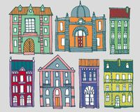 Set of old hand drawn colourful houses. Set of cute hand drawn colorful cartoon buildings Stock Image