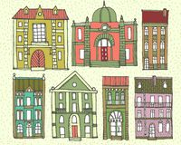 Set of old hand drawn colourful houses. Set of cute hand drawn colorful cartoon buildings Royalty Free Stock Image