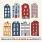 Set of old hand drawn colourful houses Royalty Free Stock Photos