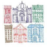 Set of old hand drawn houses Royalty Free Stock Images