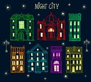 Set of old hand drawn night city. Set of cute hand drawn colorful cartoon buildings Stock Images