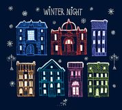 Set of old hand drawn night winter city. Set of cute hand drawn colorful cartoon buildings in winter Stock Photos
