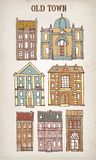 Set of old hand drawn old houses Royalty Free Stock Images