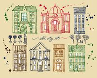 Set of old hand drawn vintage houses. Set of cute hand drawn colorful cartoon buildings Royalty Free Stock Image