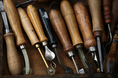Set of old hand tools Royalty Free Stock Images