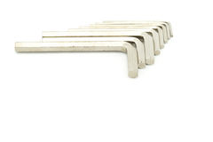 Set Old hex keys. Set of hex keys use for minor repair arranged on white background Stock Images