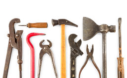 Set of old home worker articles tools. Isolated on a white background Stock Image
