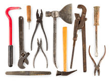 Set of old home worker articles tools. Isolated on white background Stock Images