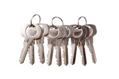 Set of old house keys isolated on the white Stock Photography