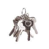 Set of old house keys isolated on the white Stock Photos