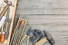 Set of old instruments for house repair and construction in smal Stock Photography