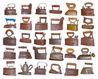 Set of old irons Stock Photos