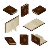 Set of old isometric books Stock Images