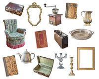 Set old items isolated on white background. Suitcase, chair, picture frames, books, coffee grinder, candlesticks, kettle, jug, tra. Set old items isolated on royalty free stock images