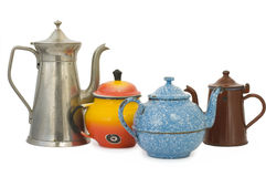 Set of old kettles Royalty Free Stock Photo