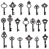 Set of old keys with decorative elements in retro style Royalty Free Stock Photography