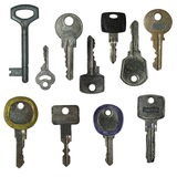 Set old keys isolated Stock Photos