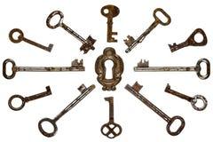 Set of old keys, isolated on white background Stock Image