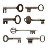 Set of old keys isolated on white Stock Image
