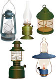 Set of old lamps. Ancient Royalty Free Stock Photo