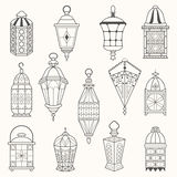 Set of old lamps. Lantern vector dark silhouettes Stock Photos