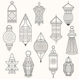 Set of old lamps. Lantern vector dark silhouettes Stock Photography