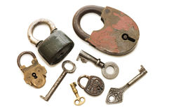 Set of old locks isolated on white Royalty Free Stock Photo